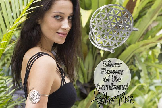 Flower of Life Armband - Sacred Geometry Arm Band -  Silver - One Size - Adjustable - Feather Tribe