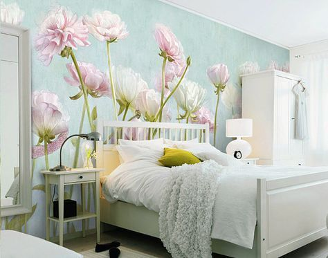 Mint groene bloemen behang Poetsie Pale Turquise roze witte bloem muur muurschildering Art slaapkamer woonkamer wandbekleding Decal Aqua blauwe muur