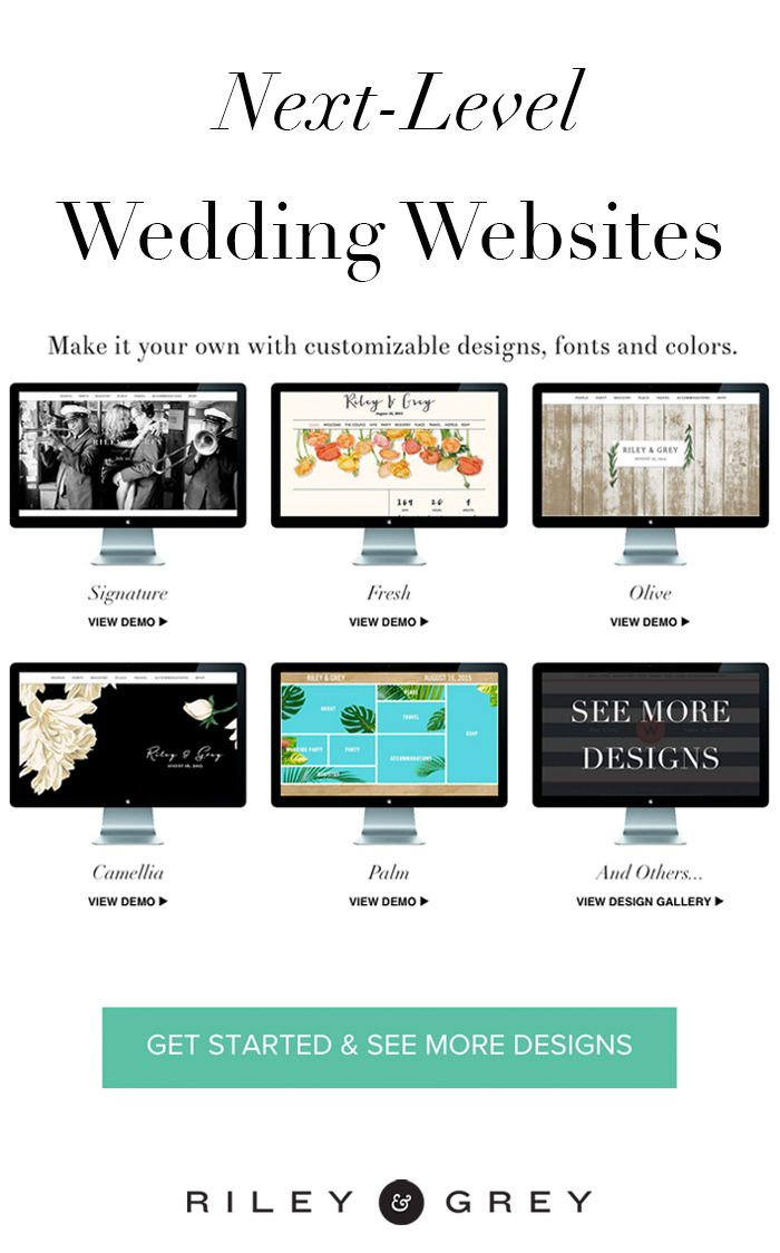 Wedding website examples from Riley & Grey. Click through to check out more customizable, limited-edition, luxury designs / templates. (wedding app, save the date, invitation, wedding planning)