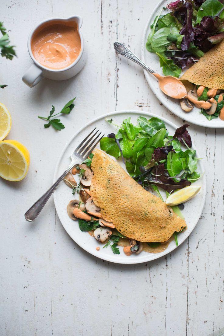Mushroom & Spinach Crêpes with Sun-dried Tomato Walnut Cream (Vegan + Gluten-Free) by The Green Life