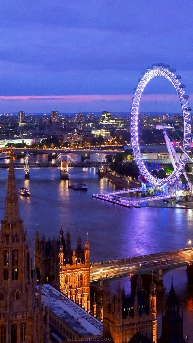 View of the London Eye and the Southbank from the Houses of Parliament, London