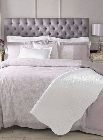 New Holly Willoughby bedding range. Soft pretty heather lace bed linen design at BHS.