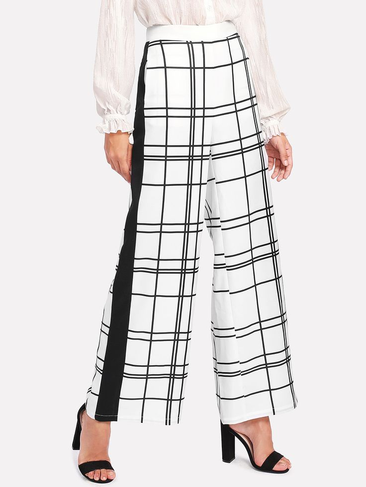 Shop Panel Side Grid Palazzo Pants online. SheIn offers Panel Side Grid Palazzo Pants & more to fit your fashionable needs.