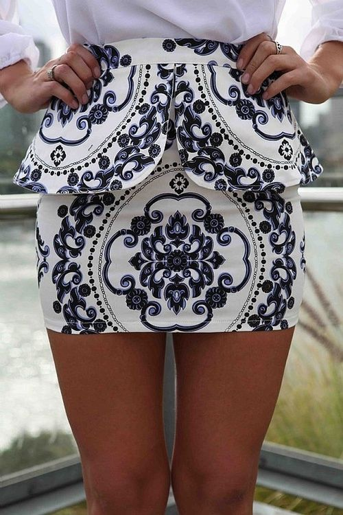 Omg I love this!: Miniskirt, Minis Skirts, Patterns, White Peplum, Style, Blue, Clothing, Prints Skirts, Peplum Skirts