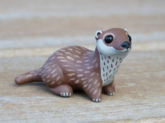 Tiny river otter - Handmade miniature polymer clay animal figure by AnimalitoClay on Etsy