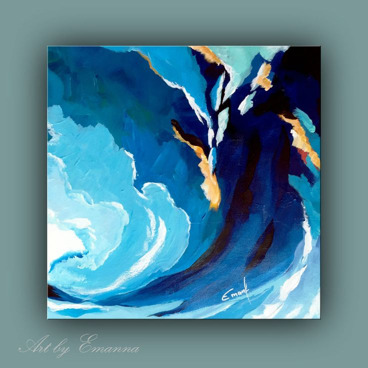 Original Abstract Wave Painting. Size: 12 x 12 x 1 1/2'' deep NEED A DIFFERENT SIZE? please contact me for info. This painting was created on high quality gallery wrapped canvas stretched around wood frames and stapled on the back. Edges are painted in black. Painting is ready to hang.