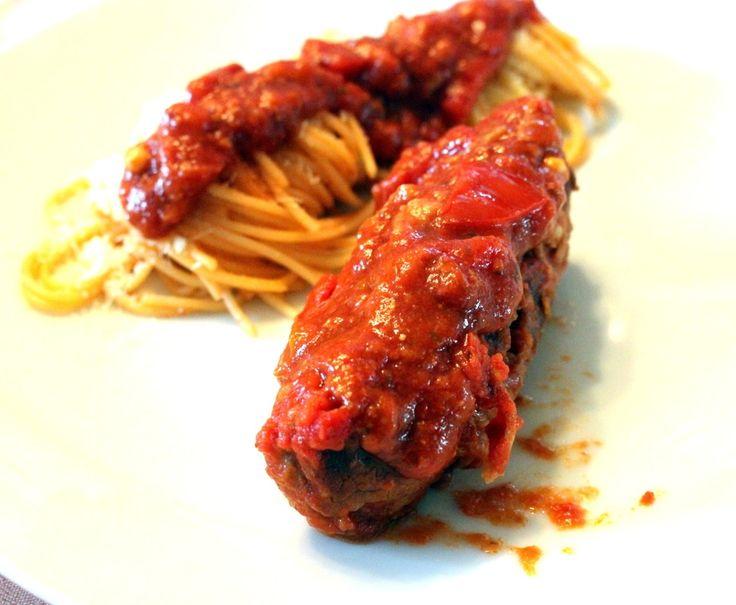 Braciole/Involtini di Manzo con Spaghetti con salsa di Pomodoro