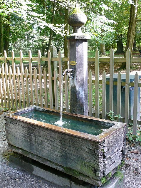 Water trough feature. Great idea for watering the horses after a ride.