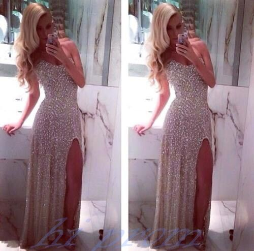 Ivory Prom Dresses,Prom Gowns,Prom Dresses 2015 With Silver Beading Prom Gown 2016,Slit Prom Gown,Prom Dress,Sexy Prom Dresses