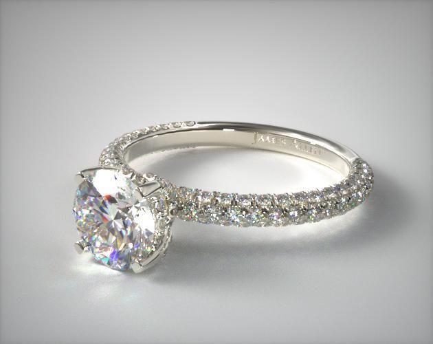 Platinum Trio Micro Pave Engagement Ring | i love this setting