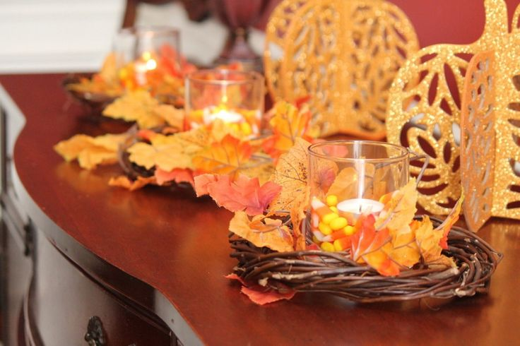 Dollar Tree Fall Decorating - vine wreaths, candles & holders