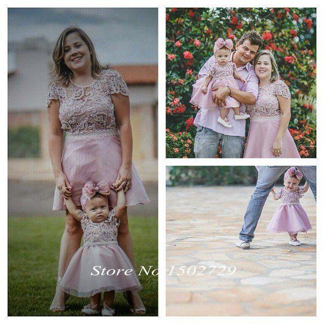 Розового кружева 2 шт. матери-дочери платья для свадьбы ну вечеринку семья ну вечеринку выпускного вечера первого причастия цветок платья