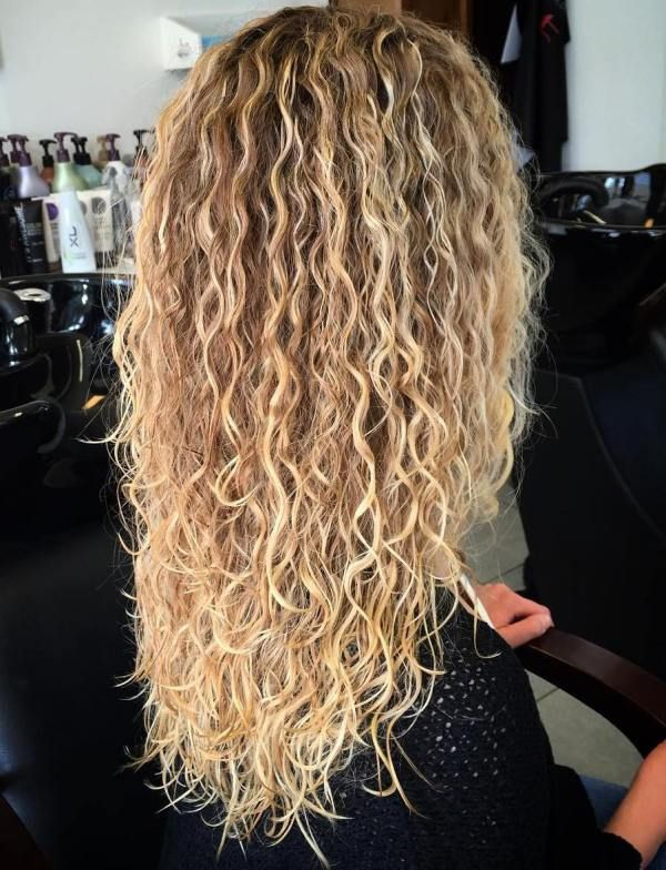 Wavy perms for long thick hair