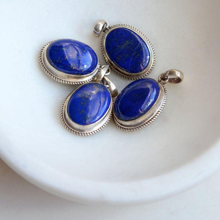 Genuine Lapis Lazuli Pendant, Oval Sterling Silver Lapis Lazuli Pendant, Dark Blue Lapis, Nepal Gemstone Pendant, Oval Lapis, BID17-0112C by WanderlustWorldArts on Etsy