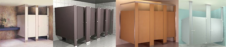 ADA Restrooms: examples of commercial toilet partitions including the ADA stalls. Sold by harbor City Supply.
