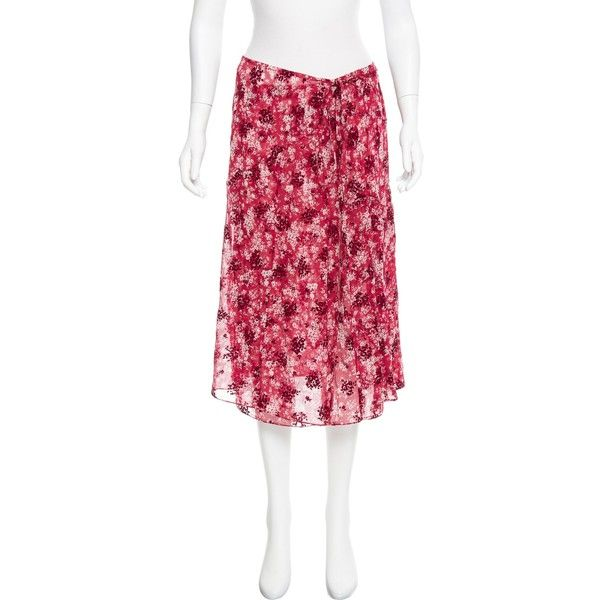 Pre-owned Calvin Klein 205W39NYC Fall 2017 Wrap Skirt ($325) ❤ liked on Polyvore featuring skirts, red, red floral skirt, red skirts, red velvet skirt, floral printed skirt and knee length skirts