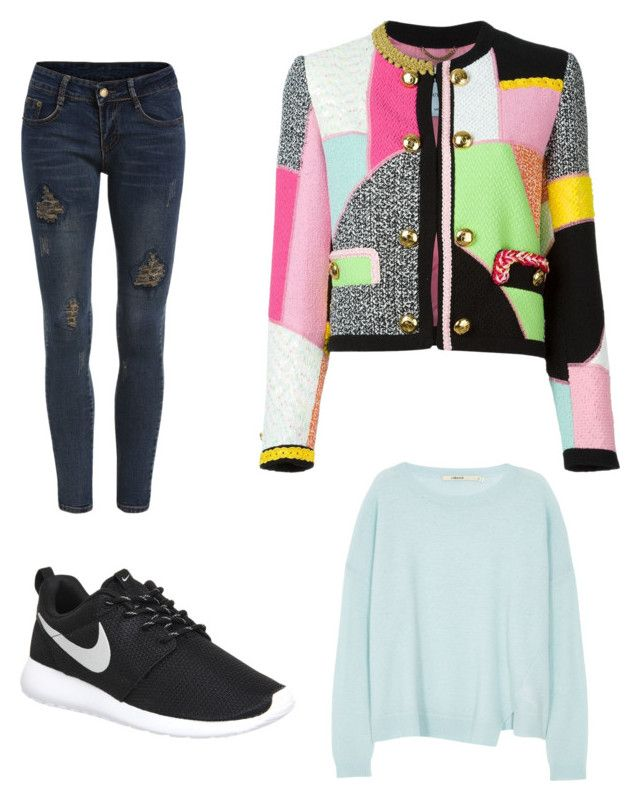 """""""Untitled #1"""" by daderibigbe ❤ liked on Polyvore featuring NIKE, J Brand, Moschino, women's clothing, women, female, woman, misses and juniors"""