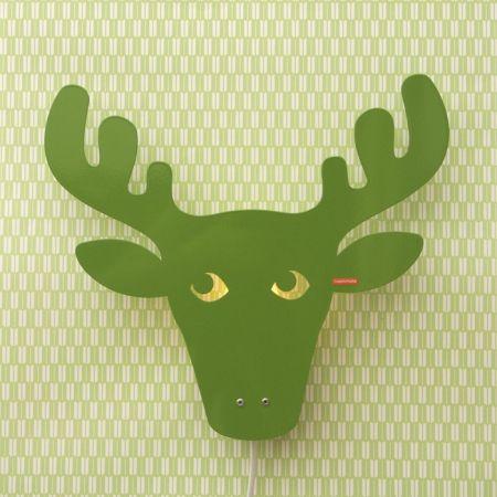 Roommate wandlamp kinderkamer rendier groen