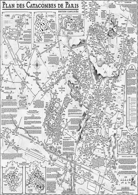 """Map of the Parisian Catacombs (alluded to in Poe's """"Cask of Amontillado"""") This is a subject which really interests me - would love to find some good resources for more information!"""