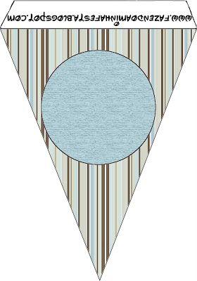 Listras Azul e Marrom - Kit Completo com molduras para convites, rótulos para guloseimas, lembrancinhas e imagens!