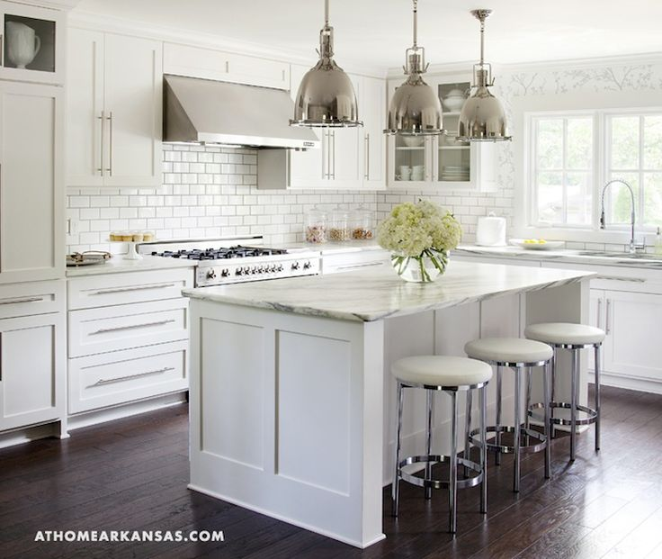 kitchens - F Schumacher Twiggy Silver Wallpaper Restoration Hardware Benson Pendant white ikea floor to ceiling kitchen cabinets kitchen island Vermont Marble countertops subway tiles backsplash polished nickel stools