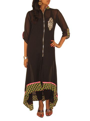 Black Georgette High Low Tunic in Chex Patterned Hemline & centre zip – Sweta Sutariya