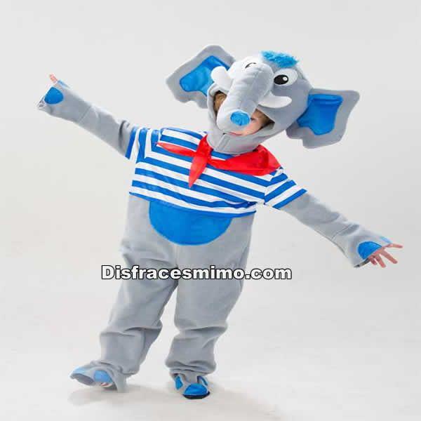 DisfracesMimo, disfraz de elefante marinero para niños 3 a 5 años.tu hijo será el perfecto dumbo con este disfraz de elefante con marinero infantil en sus fiestas.Este disfraz es ideal para tus fiestas temáticas de disfraces de animales para niños.fabricación nacional.