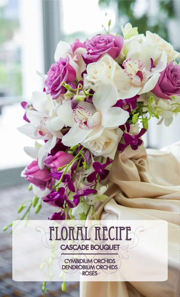 Floral Recipe This Cascade Bouquet Was Created Using Cymbidium Orchids Dendrobium Orchids And Rose Flower Bouquet Wedding Dendrobium Orchids Wedding Flowers
