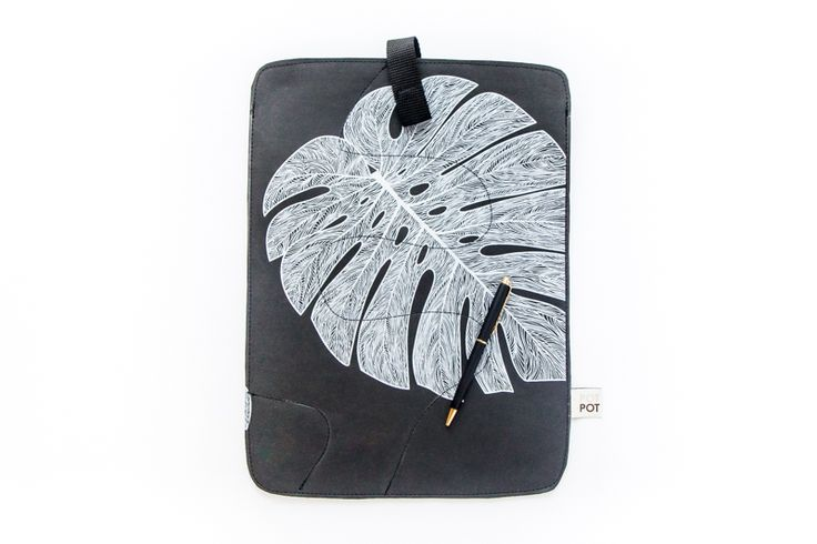 etui na laptopa [L] biały filodendron - by nature