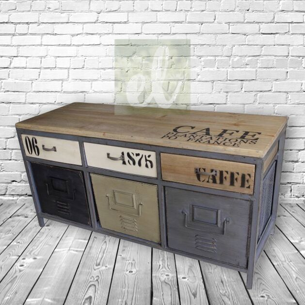 Low Metal Framed With Wooden Topped Industrial Storage Cabinet. via Elderflower Lane. Click on the image to see more!