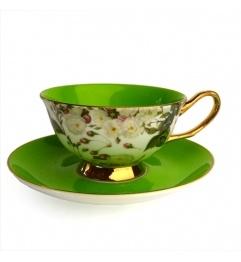 Šálek na čaj * zelený porcelán s malovanými růžičkami, zdobený zlatem ♥