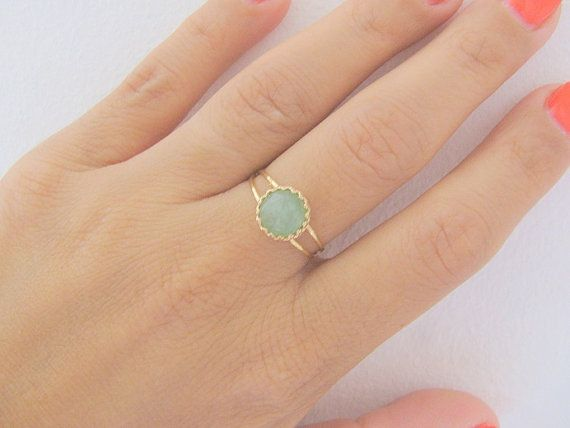 Gold Jade Ring  Beautiful Natural Faceted Jade stone in 14k gold filled double band ring.  ►Gemstone: Natural Jade gemstone ►Stone Cut: Round Rose