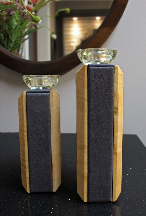 #candles Leather sided elegant candle holders. chestnutgrove.ca
