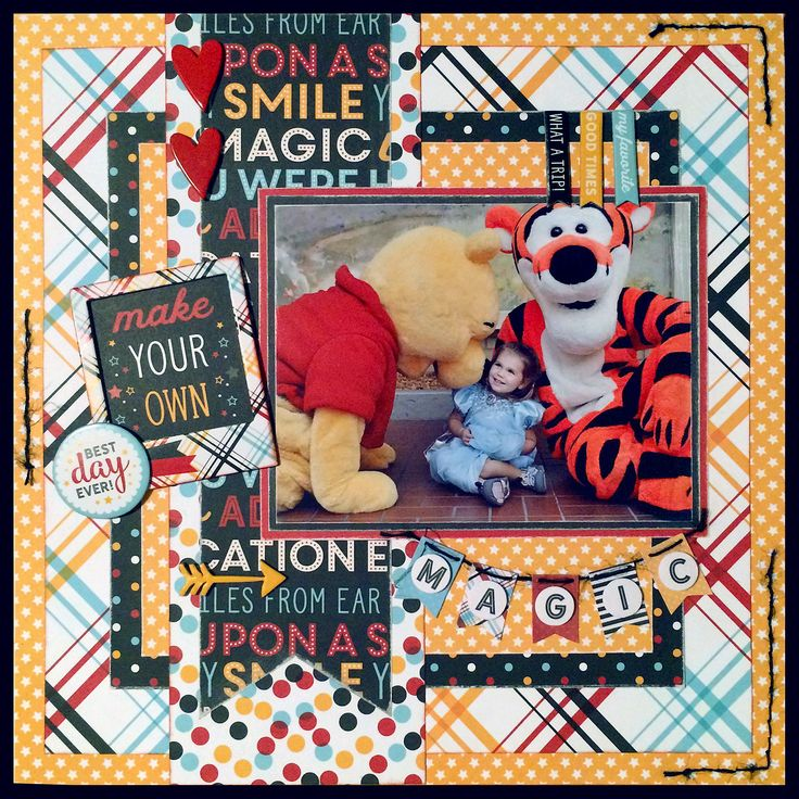 """""""Magical Friends"""" 12x12 1-pg layout using Echo Park Paper Co. """"Magic & Wonder"""" papers, stickers, and chipboard accents 03.2017 — Jill Kulchinsky"""