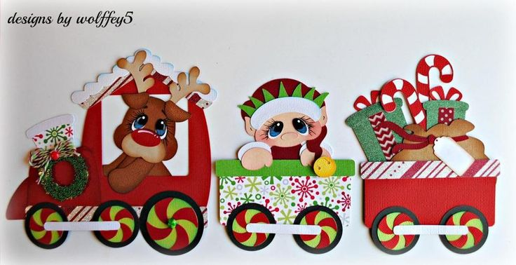 ELITE4U XMAS TRAIN KID paper piecing premade scrapbook  album die cut WOLFFEY5 #wolffey5