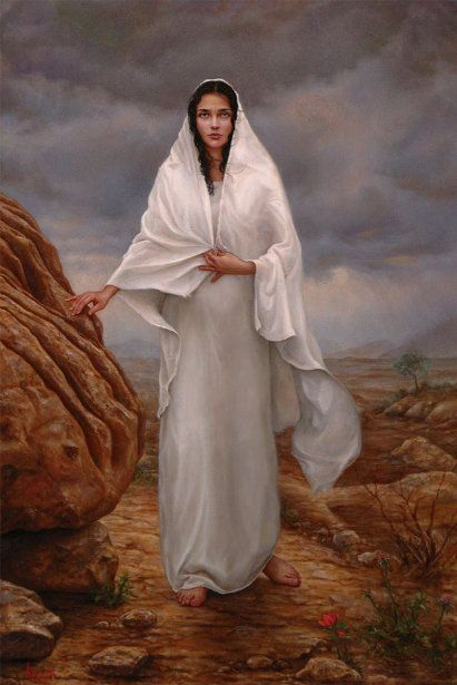 This painting depicts Mary the mother of Christ, and reflects her heroic fortitude amid the dramatic overshadowing storms and harsh realities of the world. Knowing that the Redeemer of all mankind grows within her and the heavy burden attached with that responsibility, she endures with grace, beauty, purity, and an absolute compassion for humanity. Because of her willingness to endure, Christ was brought into this world and salvation could be given to all of us.