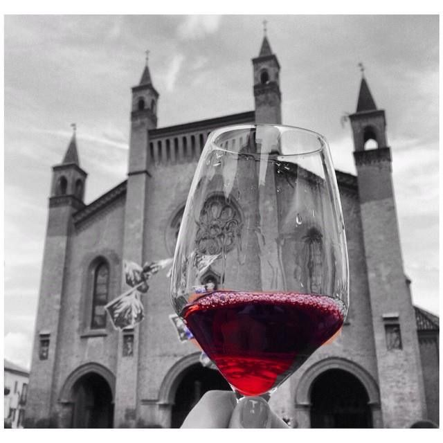 Glass of wine in Alba, Langhe