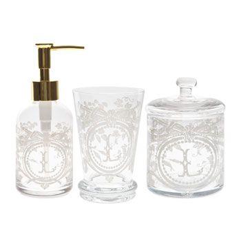 Patterned Glass Bathroom Set