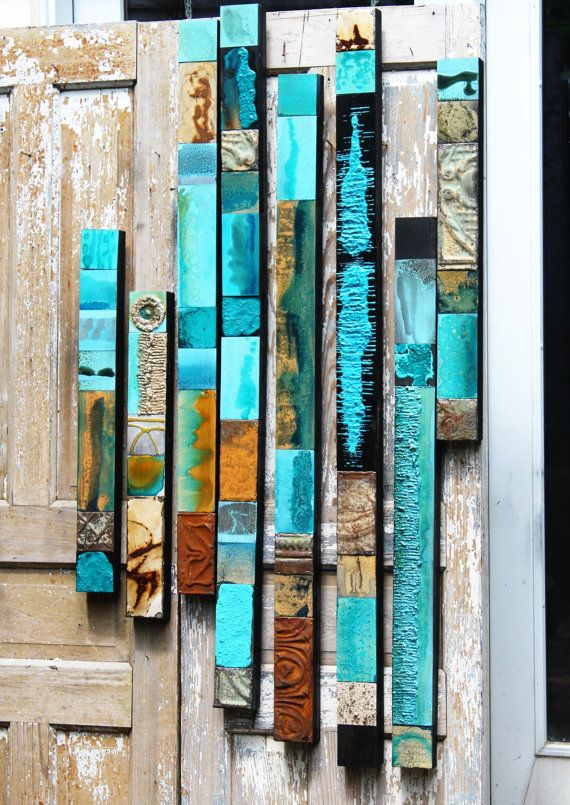 SOLD Sue M. Turquoise Sea Wood Collage Totems Organic Seaglass Minerals Tin Metal Abstract Modern Boho Contempory Wall Scupture Assembages