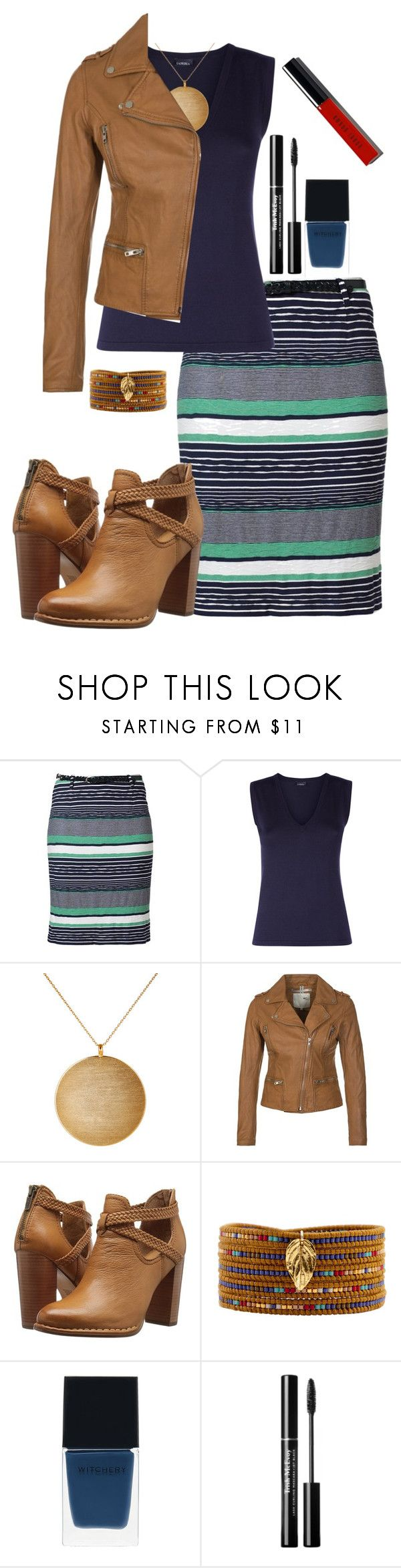 """""""Untitled #304"""" by missbeth1897 ❤ liked on Polyvore featuring Gerry Weber Edition, Kenneth Jay Lane, MKT studio, Frye, Chan Luu, Witchery and Bobbi Brown Cosmetics"""