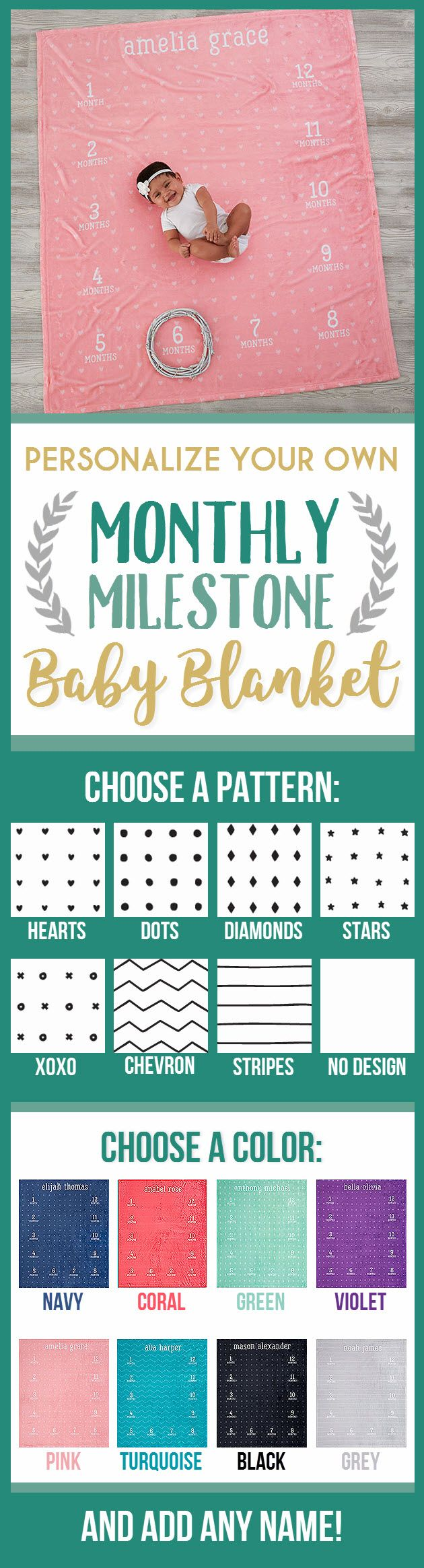This personalized monthly milestone baby blanket is the perfect prop for those monthly baby photos! Such a great baby gift idea too!