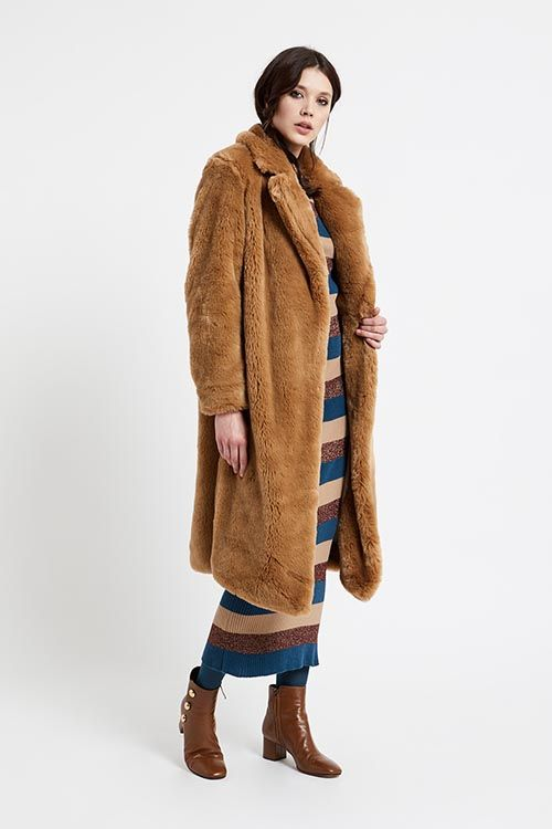 48e2100b5 Abrigo largo de mujer de piel sintética de color marrón