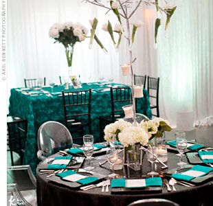 teal, black,white,: Black Color Palette, White Silver Wedding, Tulip Centerpieces, Dinners Tables, Black White, Wedding Colors, Wedding Planners, Black Colors Palettes, Silver Weddings