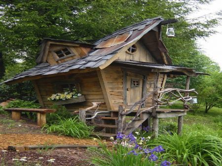 Whimiscal Playhouse - doll, fairy, fairytale, house, imagination, play, recycle, resourceful, salvage, whimsy, wood: Wooden Houses, Coolest Playhouses, Elf Playhouses, Trees Houses, Fairies Houses, Gardens House, Fairytale Houses, Plays Houses, Fairies Tales