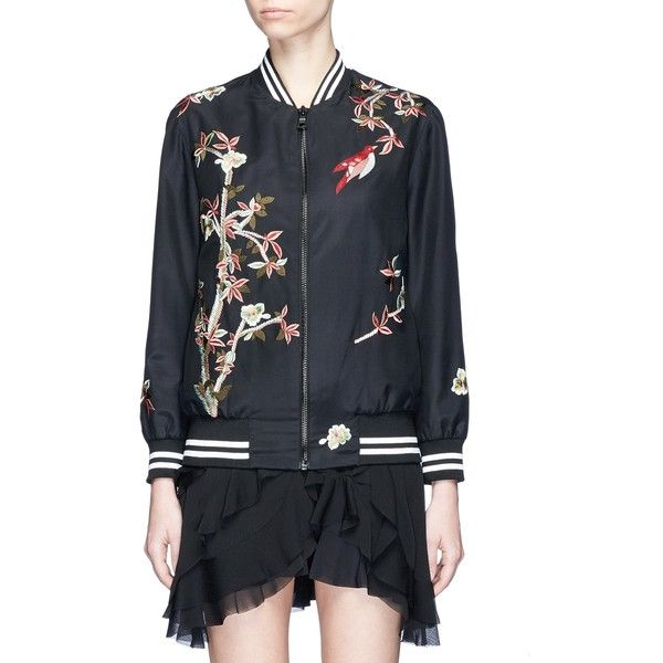 Alice + Olivia 'Lila' floral and bird embroidered satin bomber jacket (€490) ❤ liked on Polyvore featuring outerwear, jackets, black, embroidered bomber jackets, satin jackets, floral bomber jacket, sports jacket and embroidered jacket