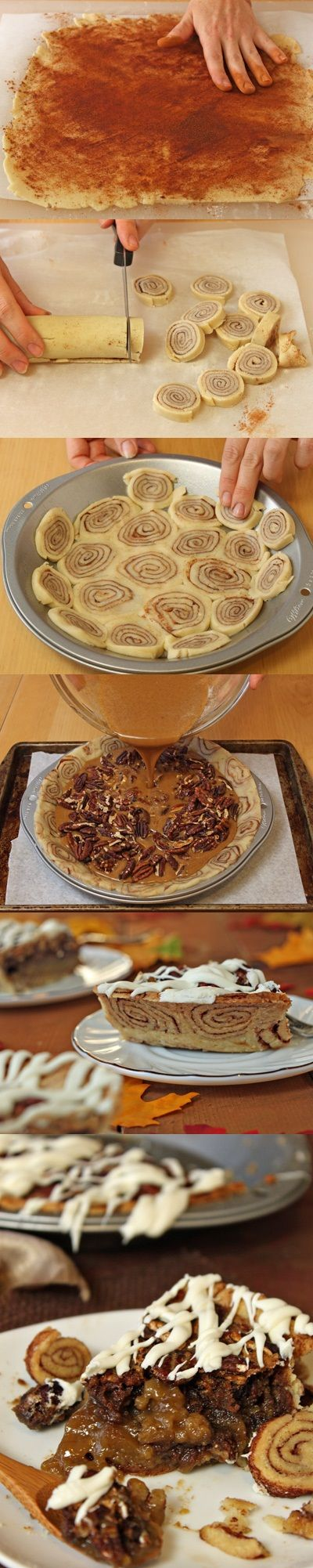 Cinnamon Bun Pecan Pie Recipe  Why is this a thing?? Are pecan pie and cinnamon rolls not fattening enough on their own?? It does look amazing though...