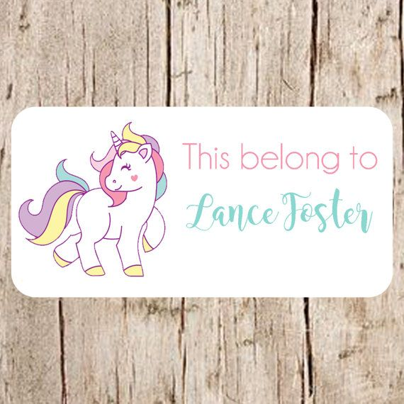 unicorn stickers school name labels labels for by labelin. Black Bedroom Furniture Sets. Home Design Ideas