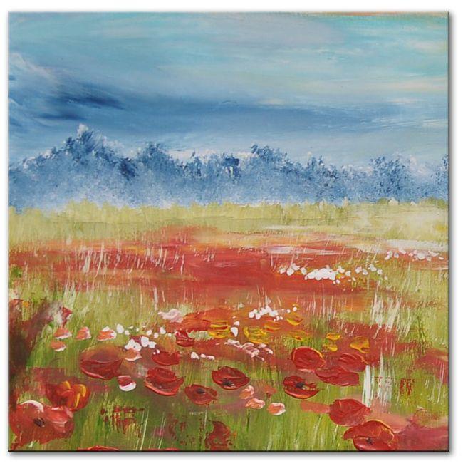 Schilderijen van bloemen en planten � Schilderij Foggy poppy meadow
