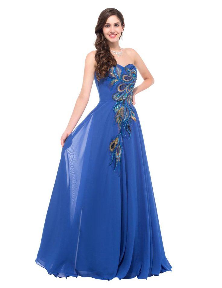Navy Blue Long Peacock Bridesmaid Dress LAVELIQ