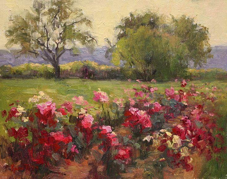 Тосканский розовый сад Ками Mendlik масла ~ 8 х 10